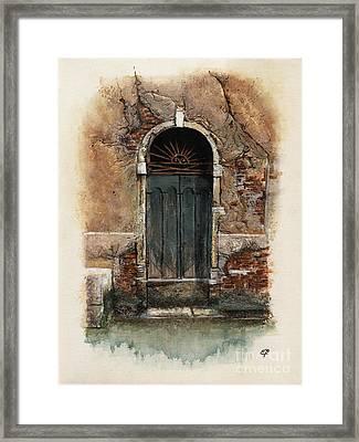 Framed Print featuring the painting Venetian Door 01 Elena Yakubovich by Elena Yakubovich