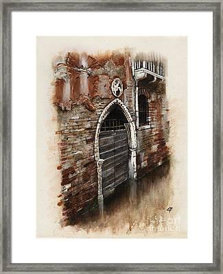Framed Print featuring the painting Venetian Door 03 Elena Yakubovich by Elena Yakubovich