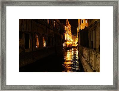 Framed Print featuring the photograph Venetian Golden Glow by Georgia Mizuleva