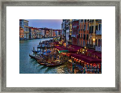 Venetian Grand Canal At Dusk Framed Print by David Smith