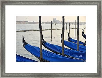 Venetian Lagoon And Moored Gondolas Framed Print