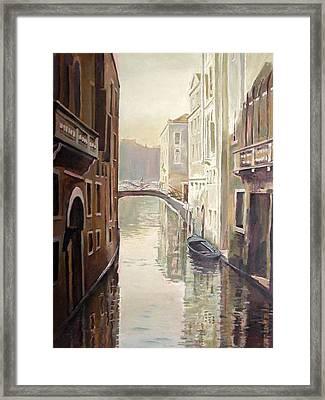 Venetian Life Oil On Canvas Framed Print