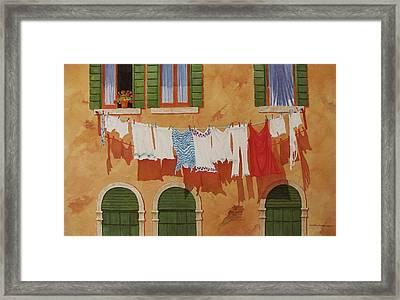 Venetian Washday Framed Print