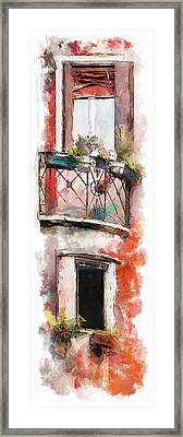 Framed Print featuring the painting Venetian Windows 4 by Greg Collins