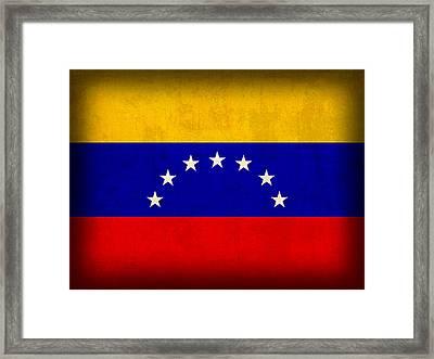 Venezuela Flag Distressed Vintage Finish Framed Print