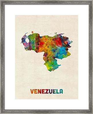 Venezuela Watercolor Map Framed Print by Michael Tompsett