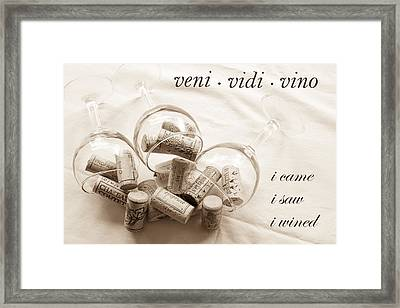 Veni Vidi Vino Toned Framed Print by Georgia Fowler