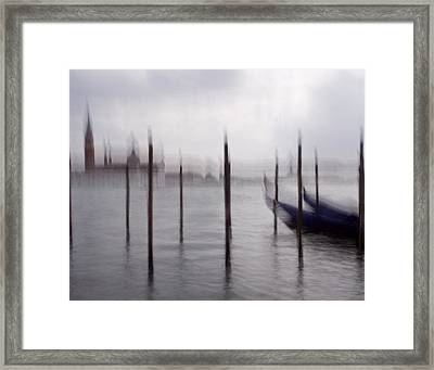Abstract Black And White Blue Venice Italy Photography Art Work Framed Print by Artecco Fine Art Photography