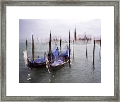 Framed Print featuring the photograph Abstract Black And White Blue Venice Italy Photography Art Work by Artecco Fine Art Photography