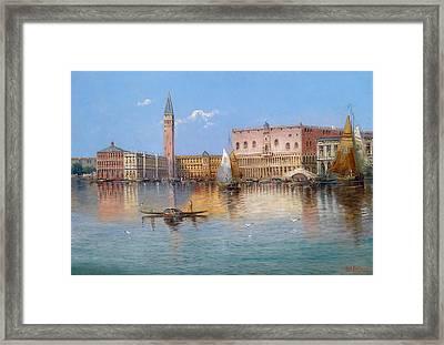 Venice. Acqua Alta In Piazza San Marco Framed Print by Karl Kaufmann