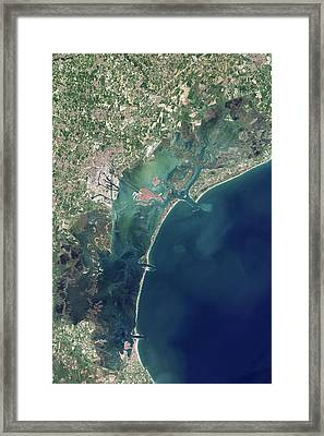 Venice And Mose Construction Framed Print by Nasa Earth Observatory