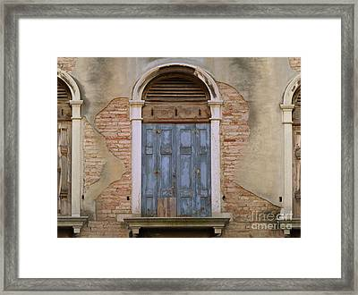 Venice Arched Bblue Shutters Horizontal Framed Print