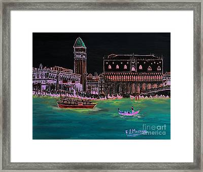 Venice At Night Framed Print by Loredana Messina