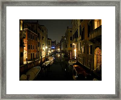 Framed Print featuring the photograph Venice At Night by Silvia Bruno