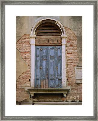 Venice Blue Arched Window Framed Print