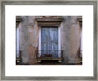 Venice Blue Shutters Horizontal Photo Framed Print