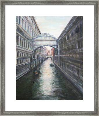 Venice Bridge Of Sighs - Original Oil Painting Framed Print