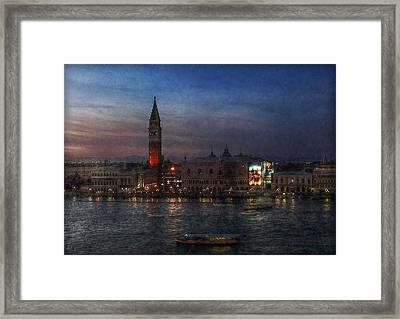 Framed Print featuring the photograph Venice By Night by Hanny Heim