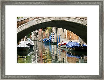 Framed Print featuring the photograph Venice Canal Boat by Silvia Bruno