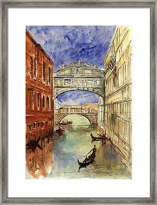 Venice Canal Bridge Of Sighs Framed Print by Juan  Bosco