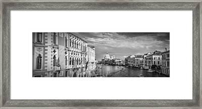 Venice Canal Grande Santa Maria Della Salute Black And White Framed Print by Melanie Viola