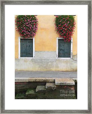 Venice Canal Shutters With Window Flowers Framed Print