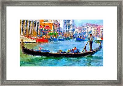 Venice Canals Gondola Framed Print by Yury Malkov