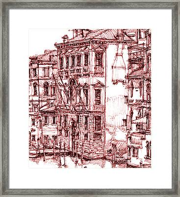 Venice Canals In Red Framed Print by Adendorff Design