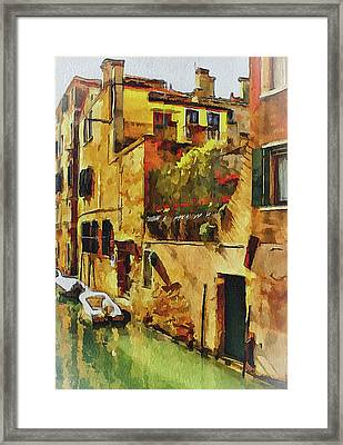 Venice Canals Watercolor 14 Framed Print by Yury Malkov