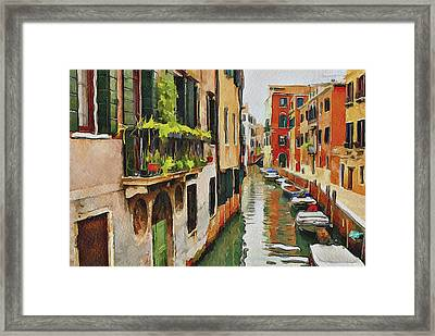 Venice Canals Watercolor 19 Framed Print