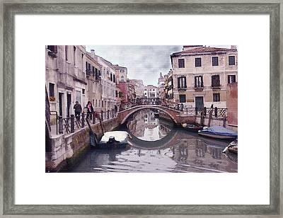 Venice Cannaregio Canal - Oil Framed Print by Art America Online Gallery