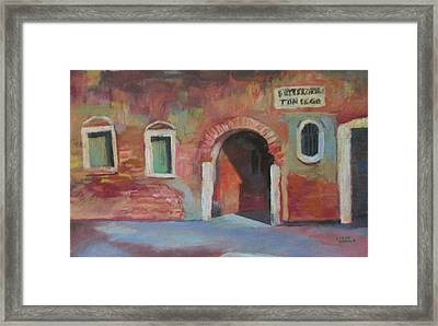 Framed Print featuring the painting Venice Doorway by Linda Novick