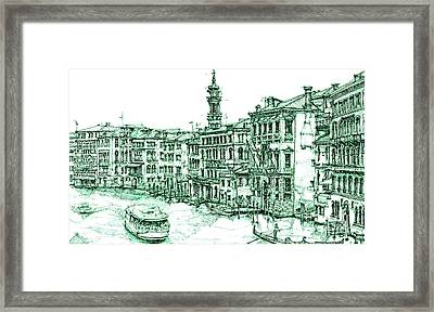 Venice Drawing In Green Framed Print