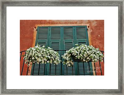 Framed Print featuring the photograph Venice Flower Balcony 2 by Allen Beatty
