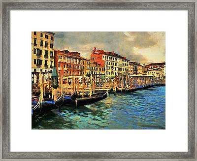Framed Print featuring the painting Venice From The Water by Jeff Kolker