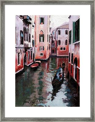Venice Gondola Ride Framed Print by Janet King