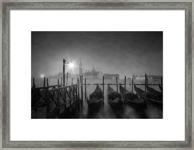 Venice Gondolas A Foggy Nightscape Framed Print by Melanie Viola