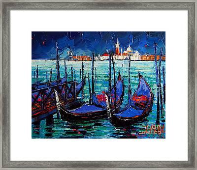 Venice Gondolas And San Giorgio Maggiore Framed Print by Mona Edulesco