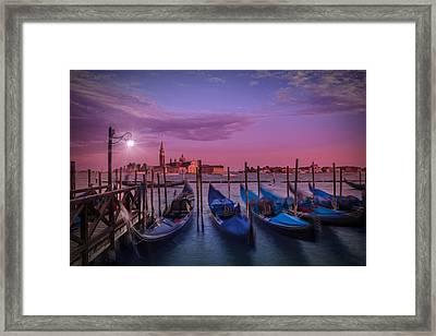 Venice Gondolas At Sunset Framed Print by Melanie Viola
