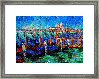 Venice - Gondolas - Santa Maria Della Salute Framed Print by Mona Edulesco