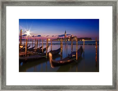Venice Gondolas During Blue Hour Framed Print by Melanie Viola