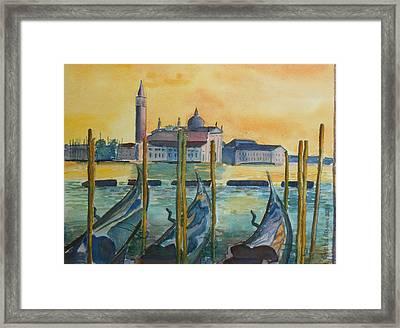 Venice Gondolas Framed Print by Geeta Biswas