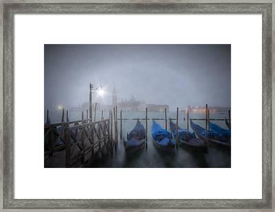 Venice Gondolas In The Mist Framed Print by Melanie Viola