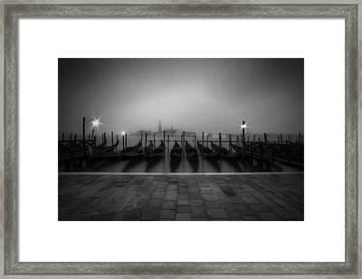 Venice Gondolas On A Foggy Morning Framed Print by Melanie Viola