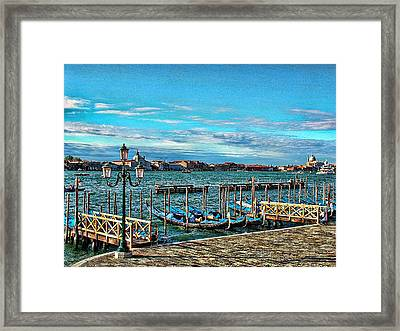 Framed Print featuring the photograph Venice Gondolas On The Grand Canal by Kathy Churchman