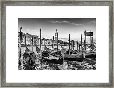 Venice Grand Canal And Goldolas In Black And White Framed Print by Melanie Viola