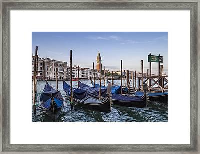 Venice Grand Canal And Goldolas Framed Print by Melanie Viola
