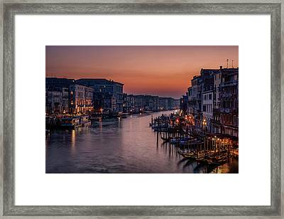 Venice Grand Canal At Sunset Framed Print