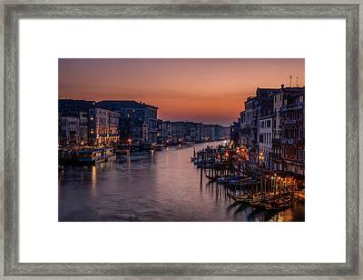 Venice Grand Canal At Sunset Framed Print by Photography By Karen