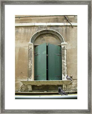 Venice Green Shutters With Birds Framed Print
